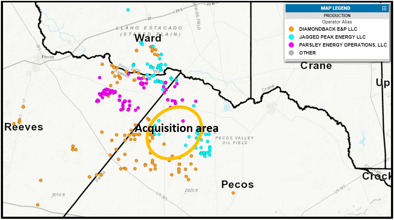Figure 1: Operators mentioned in press release's well locations in the southern Delaware Basin. (Drillinginfo Web Platform)