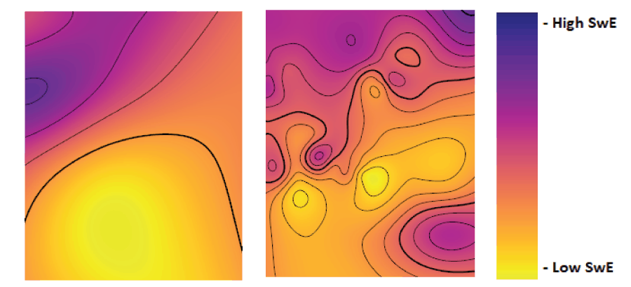 Part of an SwE map containing 14 manually-created curves (left), and the same area from a map containing 225 additional predicted SwE curves (right).