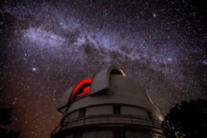 The McDonald Observatory sits under some of the darkest night skies in the continental US, where the milky way can be seen.