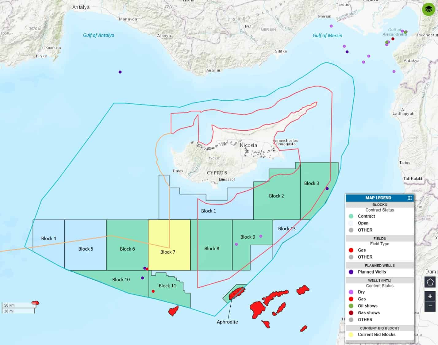 Figure 1. RoC demarcated offshore blocks and exploration wells. Also shown are the RoC's proclaimed and partly agreed EEZ (light blue line), the TRNC's proclaimed EEZ and outline of demarcated blocks (red line), the outer limits of the continental shelf as claimed by Turkey (orange line), as well as Turkey's offshore exploration wells. *