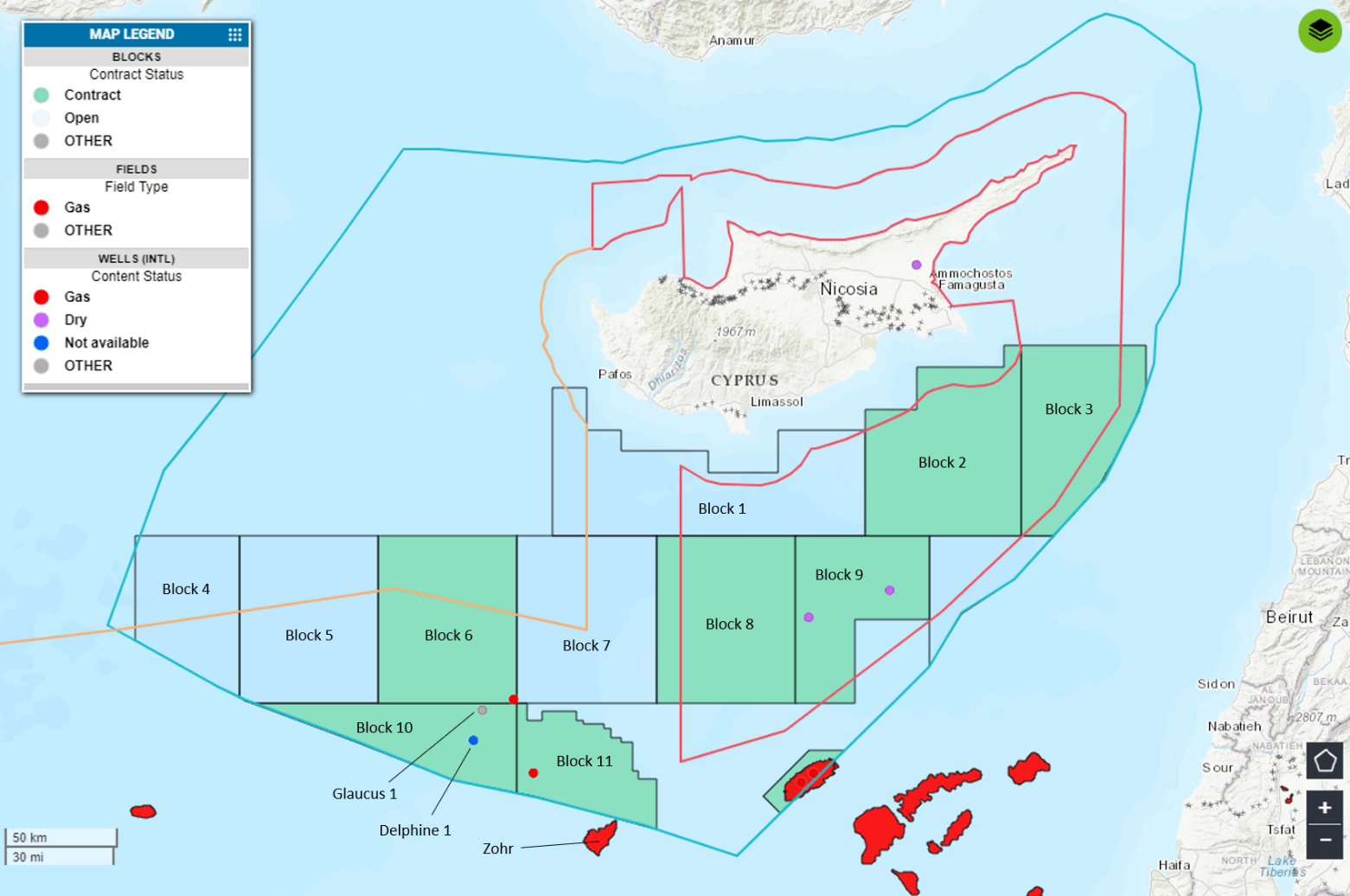 Figure 1. Republic of Cyprus demarcated offshore blocks and exploration wells. Also shown are the RoC's proclaimed and partly agreed EEZ (light blue line), the TRNC's proclaimed EEZ and outline of demarcated blocks (red line), the outer limits of the continental shelf as claimed by Turkey (orange line) as well as Turkey's offshore exploration wells. (This map is not an authority on international boundaries)